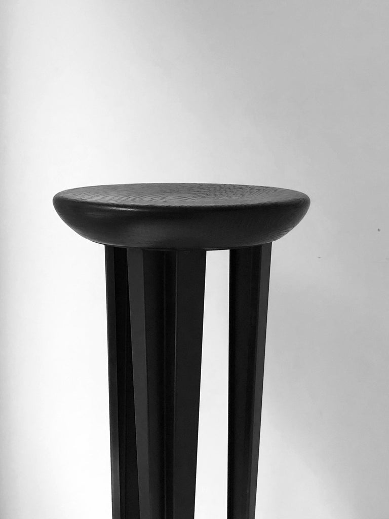 Post-Modern Ebonised Oak Bar Stool Signed by Cal Summers For Sale