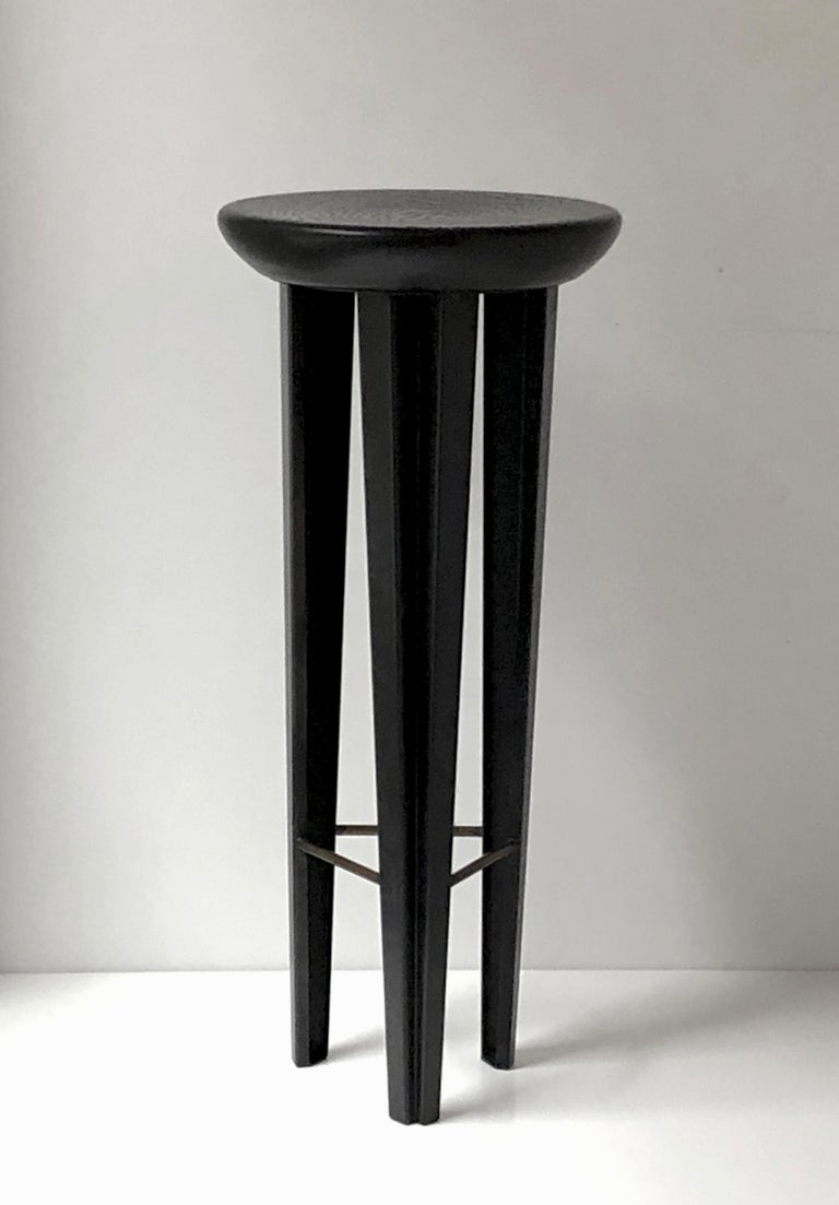 Canadian Ebonised Oak Bar Stool Signed by Cal Summers For Sale
