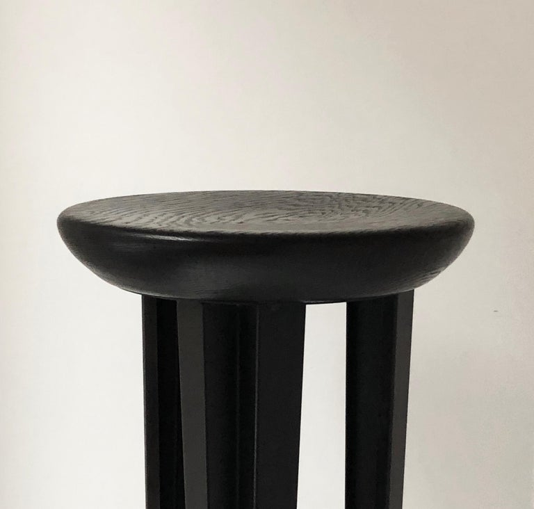 Ebonised Oak Bar Stool Signed by Cal Summers In New Condition For Sale In Geneve, CH