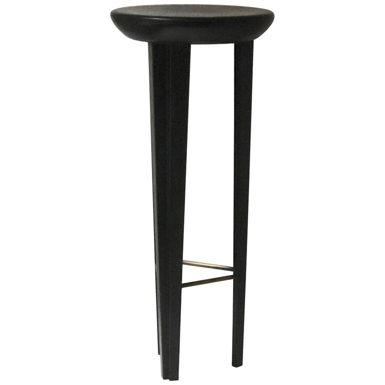 Ebonised Oak Bar Stool Signed by Cal Summers For Sale