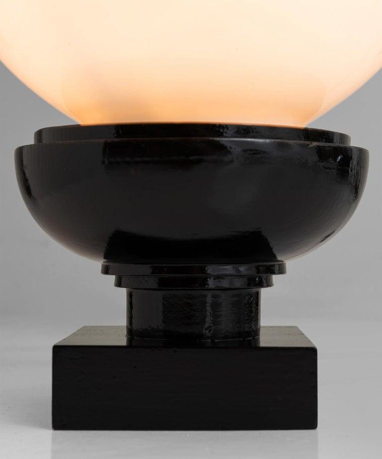 Ebonized ebonised Oak & Opaline Lamps For Sale