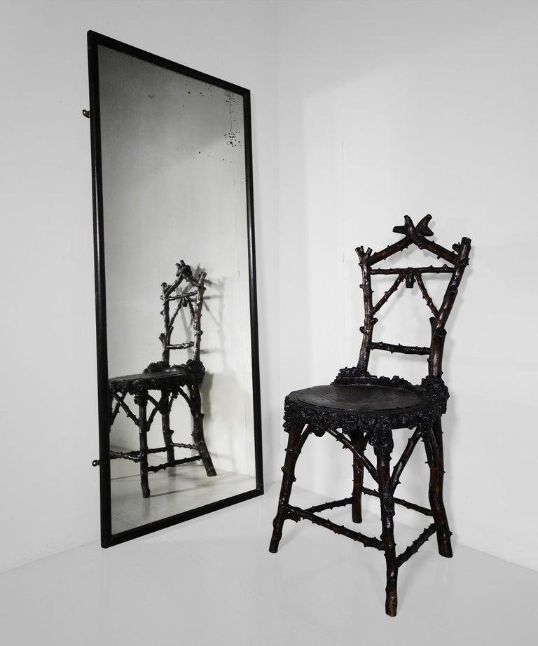 English Ebonised Shop Fitting Mirror For Sale