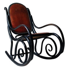 Ebonized Thonet Style Bentwood and Leather Upholstered Rocking Chair