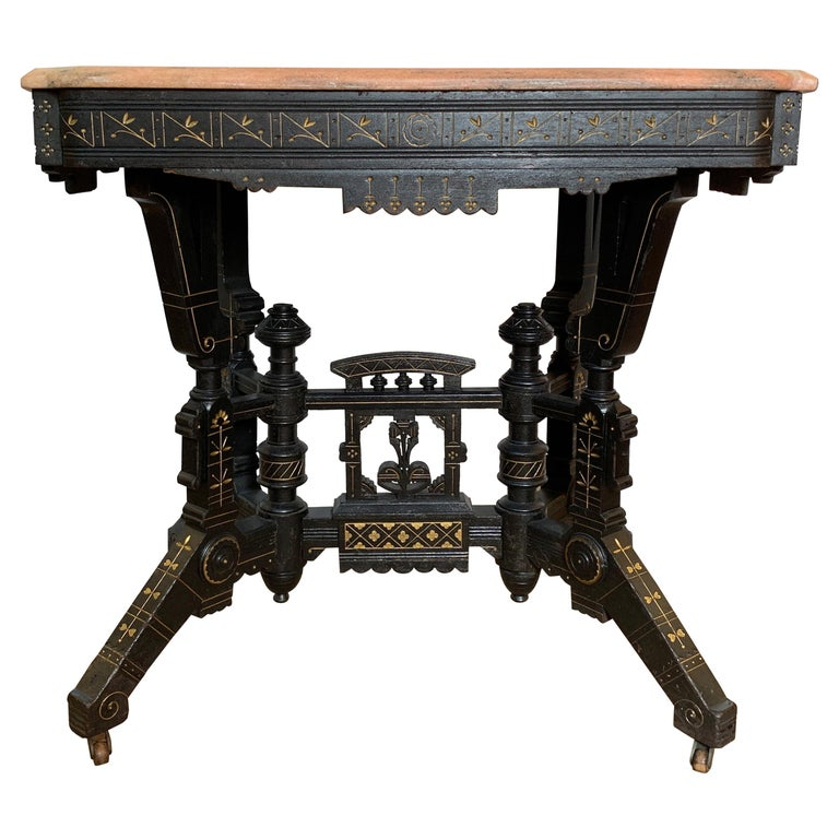 Ebonized Aesthetic Movement Parlor Table With Pink Marble