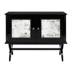 Ebonized and Mirrored Mid-Century French Buffet