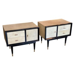 Ebonized and Parchment Nightstands or End Tables, Italy, 1950s