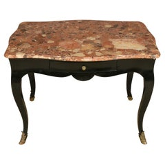 Ebonized Antique French Marble Top Writing Desk