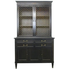 Ebonized Antique Style Napolean III Cabinet Bookcase