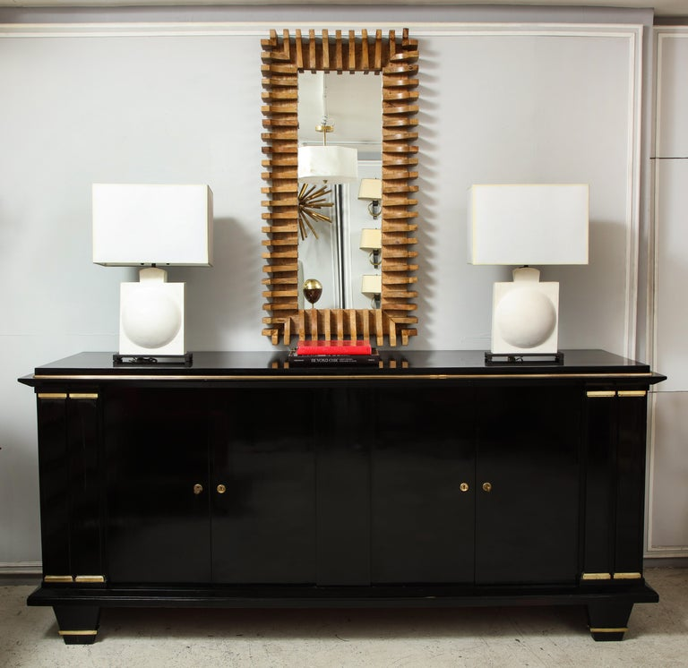 Modern Ebonized Architectural Sideboard with Bronze Mounts For Sale
