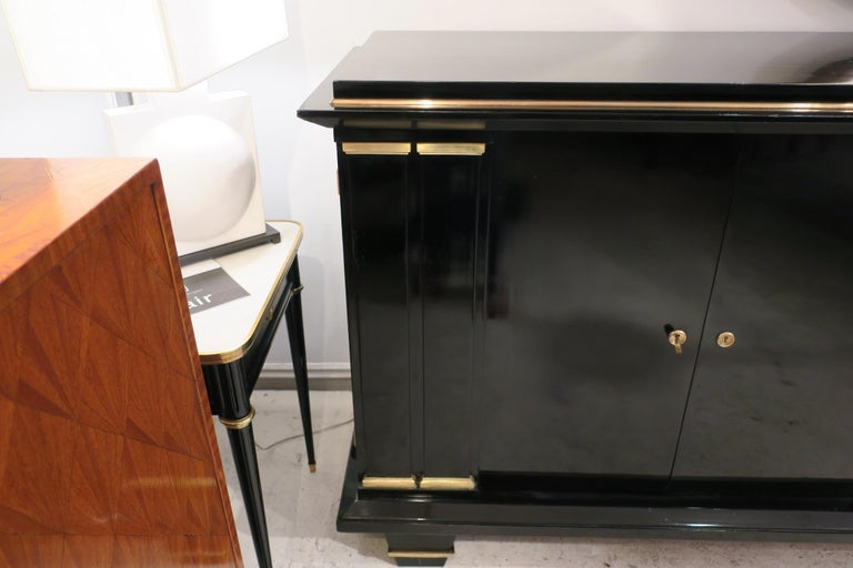 French Ebonized Architectural Sideboard with Bronze Mounts For Sale