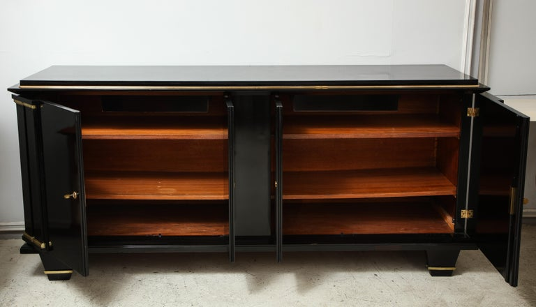 Ebonized Architectural Sideboard with Bronze Mounts For Sale 1