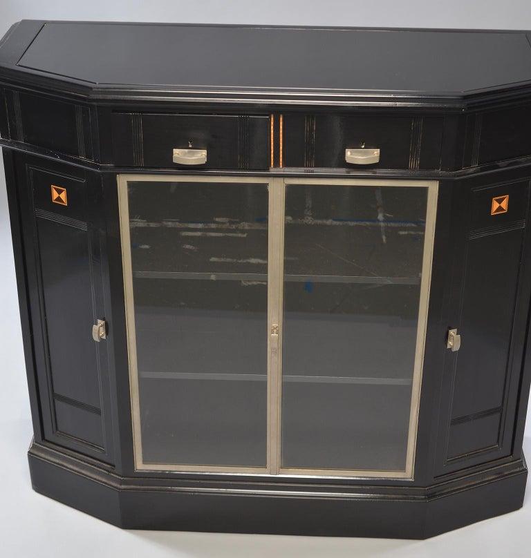 Ebonized Art Deco Cabinet With Aluminum Trim And Glass