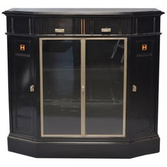 Ebonized Art Deco Cabinet with Aluminum Trim and Glass Fronted Doors