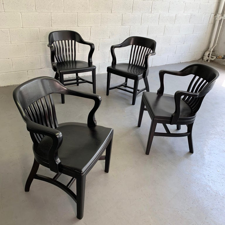 Industrial Ebonized Bank of England Armchairs For Sale