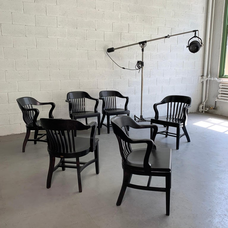 Ebonized Bank of England Armchairs In Good Condition For Sale In Brooklyn, NY