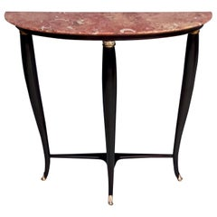 Ebonized Beech Console Table by Paolo Buffa with Red Marble Top, Italy, 1950s