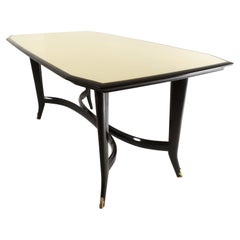 Ebonized Beech Dining Table ascribable to Ulrich with a Glass Top, Italy, 1950s