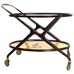 Ebonized Wood Serving Cart by Cesare Lacca with Oriental Print, Italy