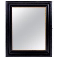 Ebonized Belgian Mirror Trimmed in Giltwood