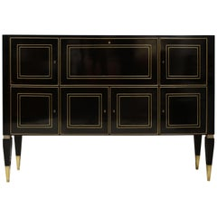 Ebonized Brass-Inlaid Cabinet on Tapered Legs
