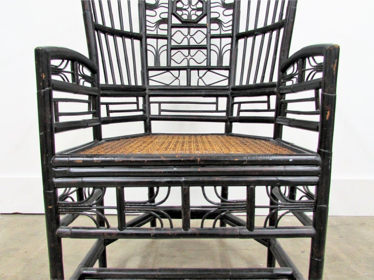 Ebonized Brighton Pavilion Highback Chinese Chippendale Armchair For Sale 3