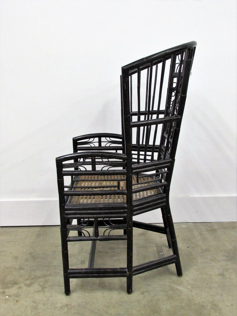 Hollywood Regency Ebonized Brighton Pavilion Highback Chinese Chippendale Armchair For Sale