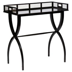 Ebonized Campaign-Style Curule Base Dry Bar or Mixing Table