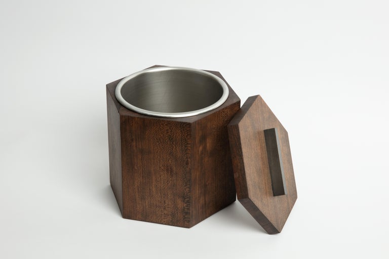 Industrial Ebonized Cherrywood Ice Bucket Black Patina Steel Hardware and Stainless Insert For Sale