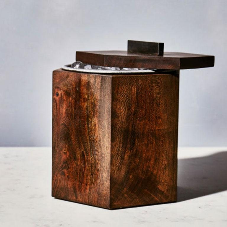 American  Ebonized Cherrywood Ice Bucket Black Patina Steel Hardware and Stainless Insert For Sale