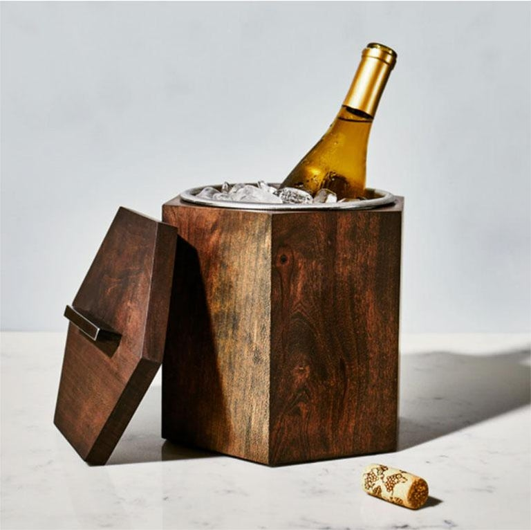 Hand-Crafted  Ebonized Cherrywood Ice Bucket Black Patina Steel Hardware and Stainless Insert For Sale
