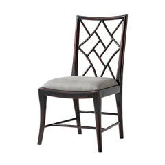 Ebonized Chinoiserie Cockpen Side Chairs