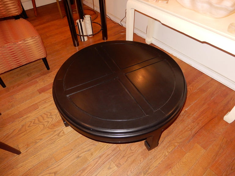Japonisme Ebonized Custom Solid Wood Low Coffee Table 1970s  For Sale