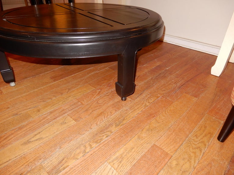 Late 20th Century Ebonized Custom Solid Wood Low Coffee Table 1970s  For Sale