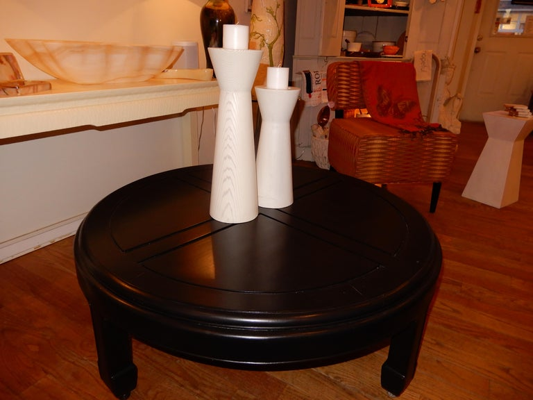 Ebonized Custom Solid Wood Low Coffee Table 1970s  In Excellent Condition For Sale In Bellport, NY