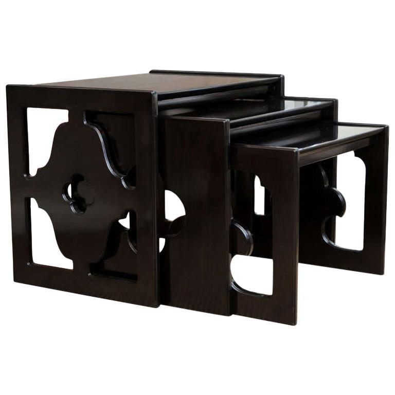 Ebonized Cutout Wood Nesting Tables Vintage, Set of 3