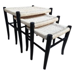 Ebonized Danish Cord Vintage Retro 1960's Nest of Stools / Tables