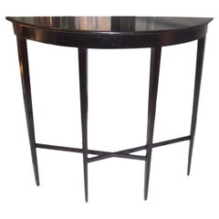 Ebonized Demilune Console on Tapered Legs