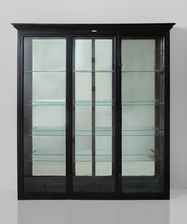 English Ebonized Display Cabinet, England, circa 1920 For Sale