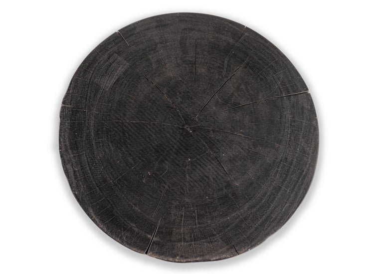 Organic Modern Ebonized Drum Form End Table For Sale