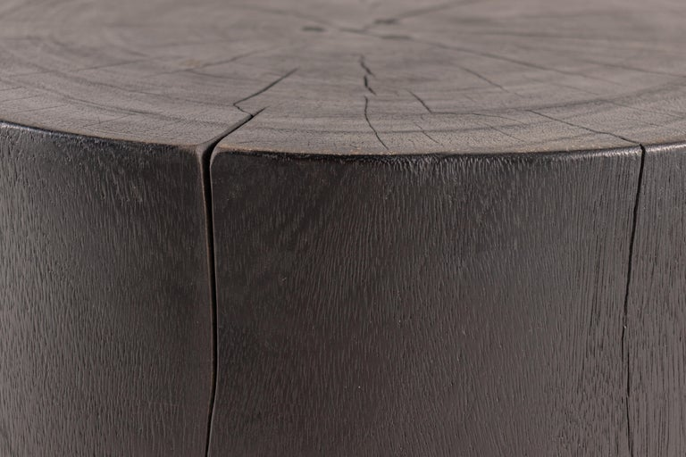 American Ebonized Drum Form End Table For Sale