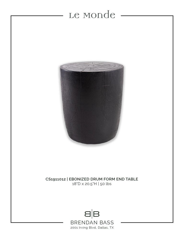 Contemporary Ebonized Drum Form End Table For Sale