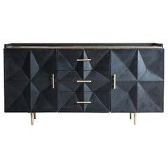 Ebonized Elm Wooden and Brass Metal Brutalist Design Sideboard