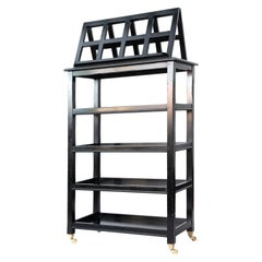 Ebonized Four-Tier Étagère with Folding Lectern / Book Display Stand on Casters