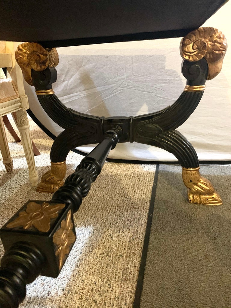 Ebonized & Gilt Benches Having Mantra Silk Scalamandre Upholstery, a Pair For Sale 14