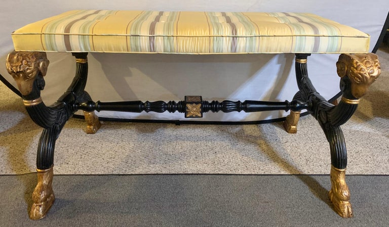 Ebonized & Gilt Benches Having Mantra Silk Scalamandre Upholstery, a Pair For Sale 1