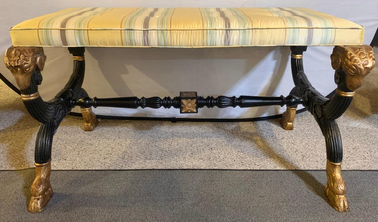 Ebonized & Gilt Benches Having Mantra Silk Scalamandre Upholstery, a Pair For Sale 2