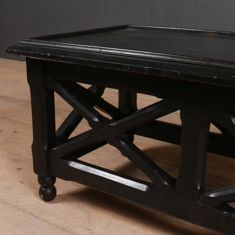19th century English low lamp table with original ebonized finish, 1850