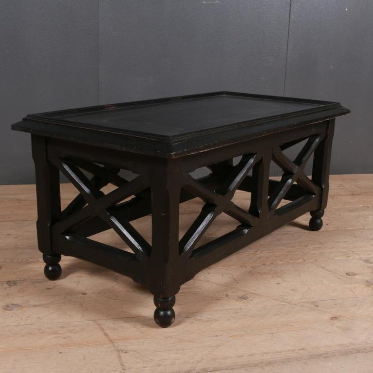 English Ebonized Low Lamp or Coffee Table For Sale
