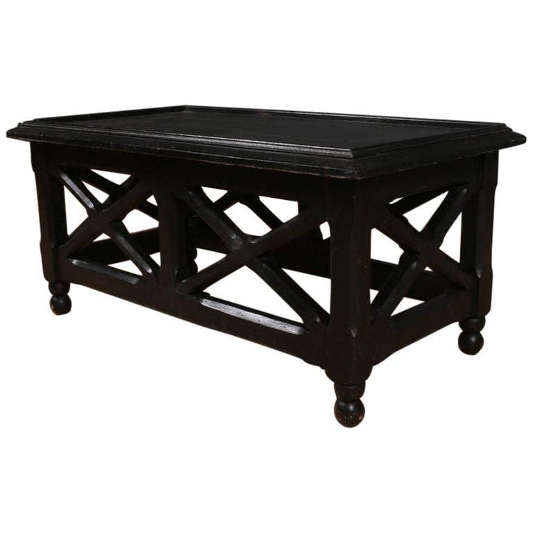Ebonized Low Lamp or Coffee Table For Sale
