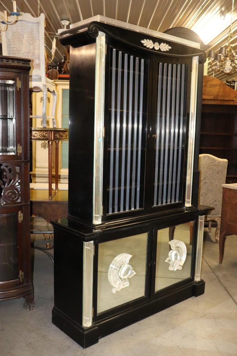 Ebonized Lucite Mirrored Lorin Jackson Grosfeld House Hollywood Regency Vitrine For Sale 9